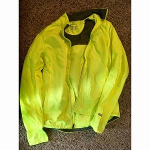 Brooks running pullover.  neon with reflection